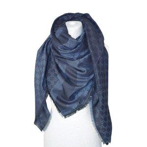 Gucci Zijden doek donkerblauw-staalblauw Wol