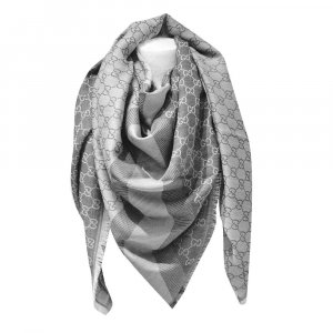 Gucci Pañuelo de seda color plata-gris Lana