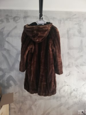 XL Jacke Pelz Mantel mit Kapuze braun