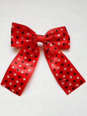 XL Rockabella Haarschleife rot mit Sterne Print