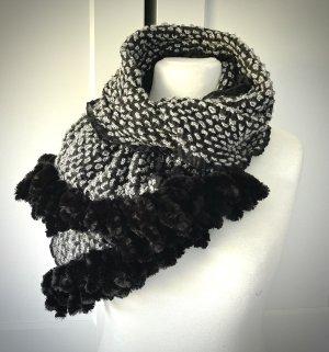 XL Schal schwarz grau Plüsch Samt von Etsy