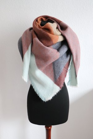 XL Schal Tuch von Zara Colourblocking mehrfarbig bunt