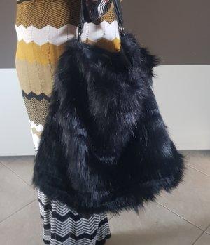 Xl shopper felltasche wie neu schwarz blogger im trend mit zipp