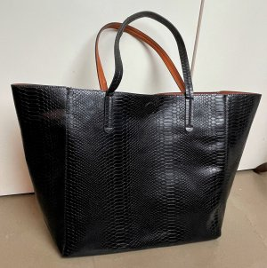 Shopper zwart-cognac Polyurethaan
