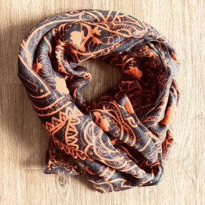 Shoulder Scarf grey-orange