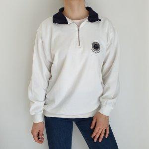 XL weiß blau Cardigan Strickjacke Oversize Pullover Hoodie Pulli Sweater Top True Vintage
