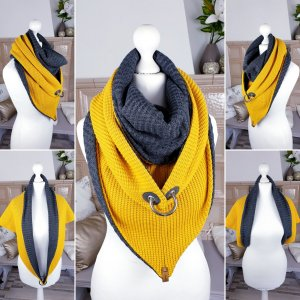 Woolen Scarf anthracite-yellow