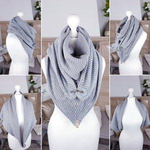 XL-Wickeldreiecks Schal mit edlem Ringverschluss