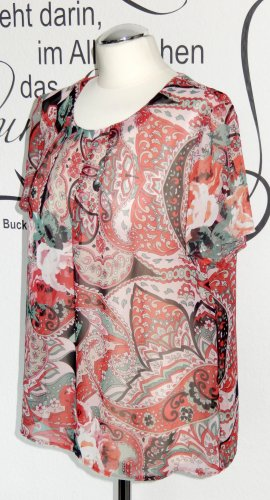 Gemusterte Chiffon-Bluse (kurze Ärmel, leicht transparent) - NEU!!