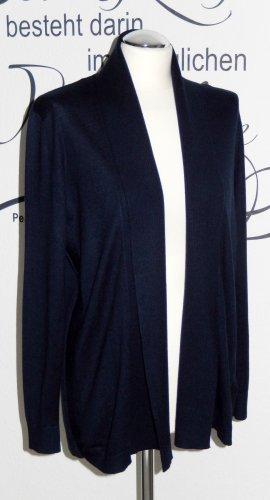 Schicke Feinstrickjacke mit Schalkragen (dunkelblau, feine Rippdetails) - Neuwertig! - Fällt eine Nr. größer aus
