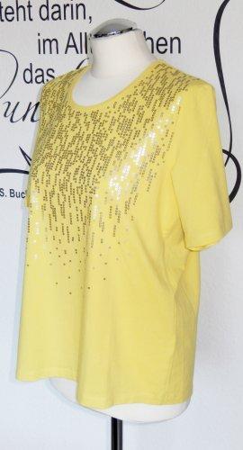 Schickes Shirt mit Pailletten (in trendigem Gelb, elastisches Material) - Wie neu, da nur einmal getragen!