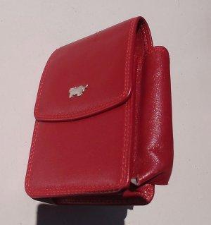 Porte-cartes rouge fluo cuir