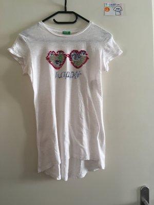 XS T Shirt Benetton weiß mit 2 ❤️