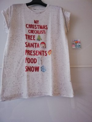 XS T shirt creme mit Spruch Christmas