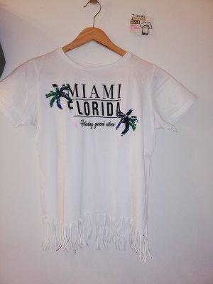 XS T Shirt weiß mit Miami Florida Spruch und Fransen