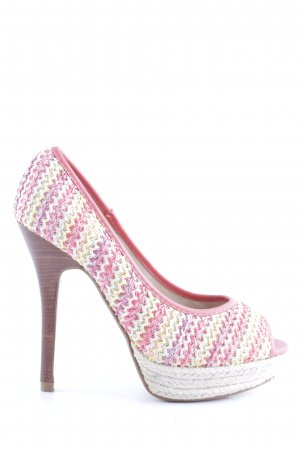 Xti Peeptoe Pumps pink abstraktes Muster Business-Look