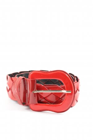 XX BY MEXX Braided Belt red-black cable stitch wet-look