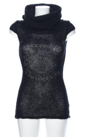 XX BY MEXX Top con colletto arrotolato nero caratteri stampati stile casual