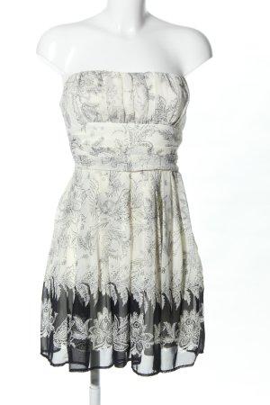 xxi Bandeaujurk wolwit-zwart bloemenprint elegant