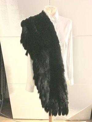 XXL gestrickter Fell kuschelig weicher Schal mit Fell Fransen