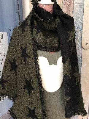 Hüftgold Wollen sjaal zwart-khaki Polyester