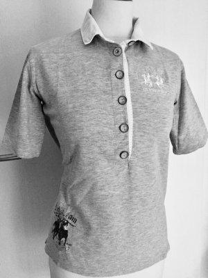 XXL LA MARTINA M L Polo Golf shirt grau weiß Stretch