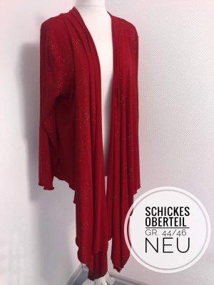 Xxl Mode neuwertig rotes Oberteil vokuhila  festlich schick plus size cardigan Silvester