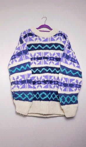 XXL Pullover Wolle, Handmade, Hippie, bunt 80s Pullover
