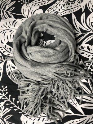 Sjaal met franjes lichtgrijs-grijs