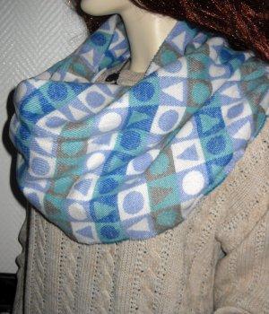 XXL Schal Ethno geometrisches Design h m Schal Scarf Schlauch blau grau creme IN
