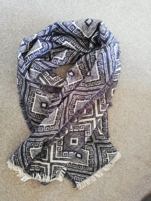 Atmosphere Knitted Scarf white-dark blue