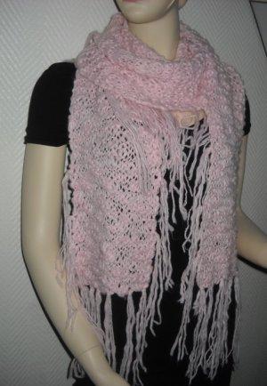 XXL Schal Schlauchschal Grob Strickschal dick rosa h m Fransen ringsum One Size