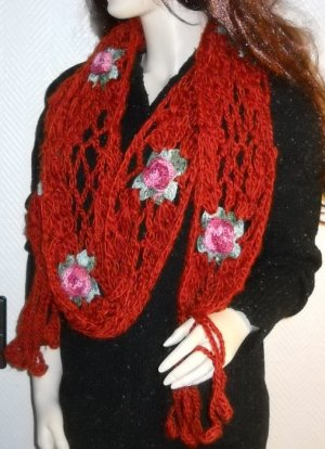 XXL Schal Strickschal Schlauch h m Häkel Optik Netz Gitter Blumen Blüten braun