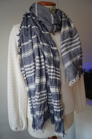 appetizer Fringed Scarf steel blue-white