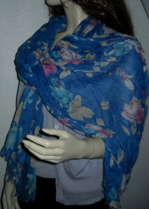 XXL Schal Tuch Schlauch scarf h m royal blau pink creme Print Blumen Blüten TOP Flower Loop