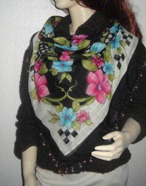XXL Schal Tuch schwarz Blumen Handarbeit Perlen Vintage Blümchen Flowers h m NEU
