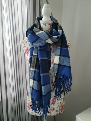 GinaTricot Knitted Scarf white-blue