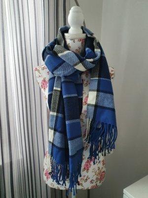 GinaTricot Gebreide sjaal wit-blauw