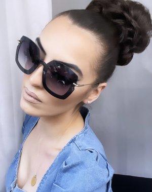 Gafas de sol cuadradas negro-color plata