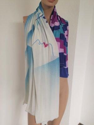 XXL-Strandtuch Vintage Schal großes Tuch Seidenoptik weiß/blau/pink/lila ca. 142x130cm