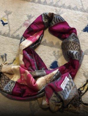 Folkloristische sjaal violet-lichtgrijs