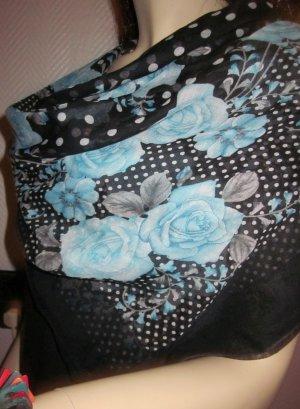 XXL Tuch Schal Scarf Halstuch Schultertuch Blumen Blüten Punkte Polka Dots schwarz hellblau blau grau Randstreifen schwarz