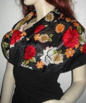 XXL Tuch Schal schwarz rot grün h m Blumen Blüten mehrfarbig edel Flower Power