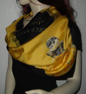 XXL Tuch SEIDE Halstuch Schal DIOR Seidentuch schwarz gelb grau Parfum Flacon