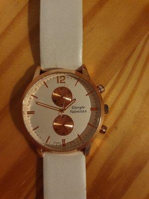 Reloj analógico blanco-color rosa dorado