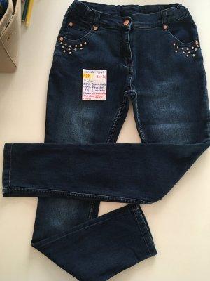 Pantalón de tubo color bronce-azul