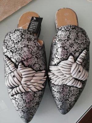 Xyxyx Pantofle srebrny-szary Skóra