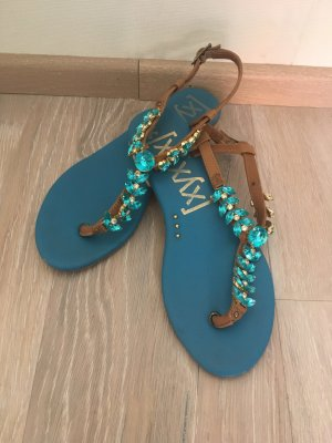 Xyxyx Dianette Sandals brown-turquoise leather