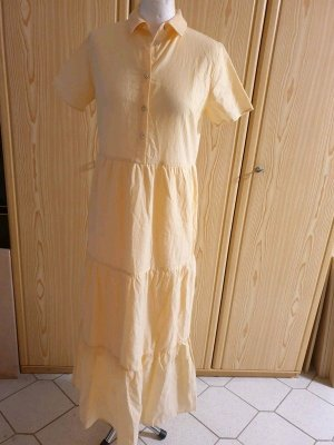Y.A.S Baumwolle Maxikleid Gr. S (36) Streifen gelb / weiß Stufenrock €55 NEU