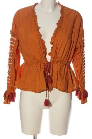 y.a.s Chaqueta tipo blusa naranja claro-blanco puro look casual